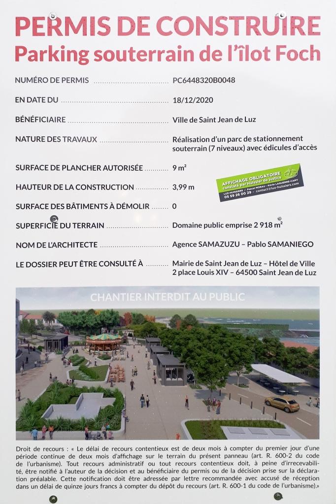 Permis de construire coque du parking Ilot Foch à Saint-Jean-de-Luz