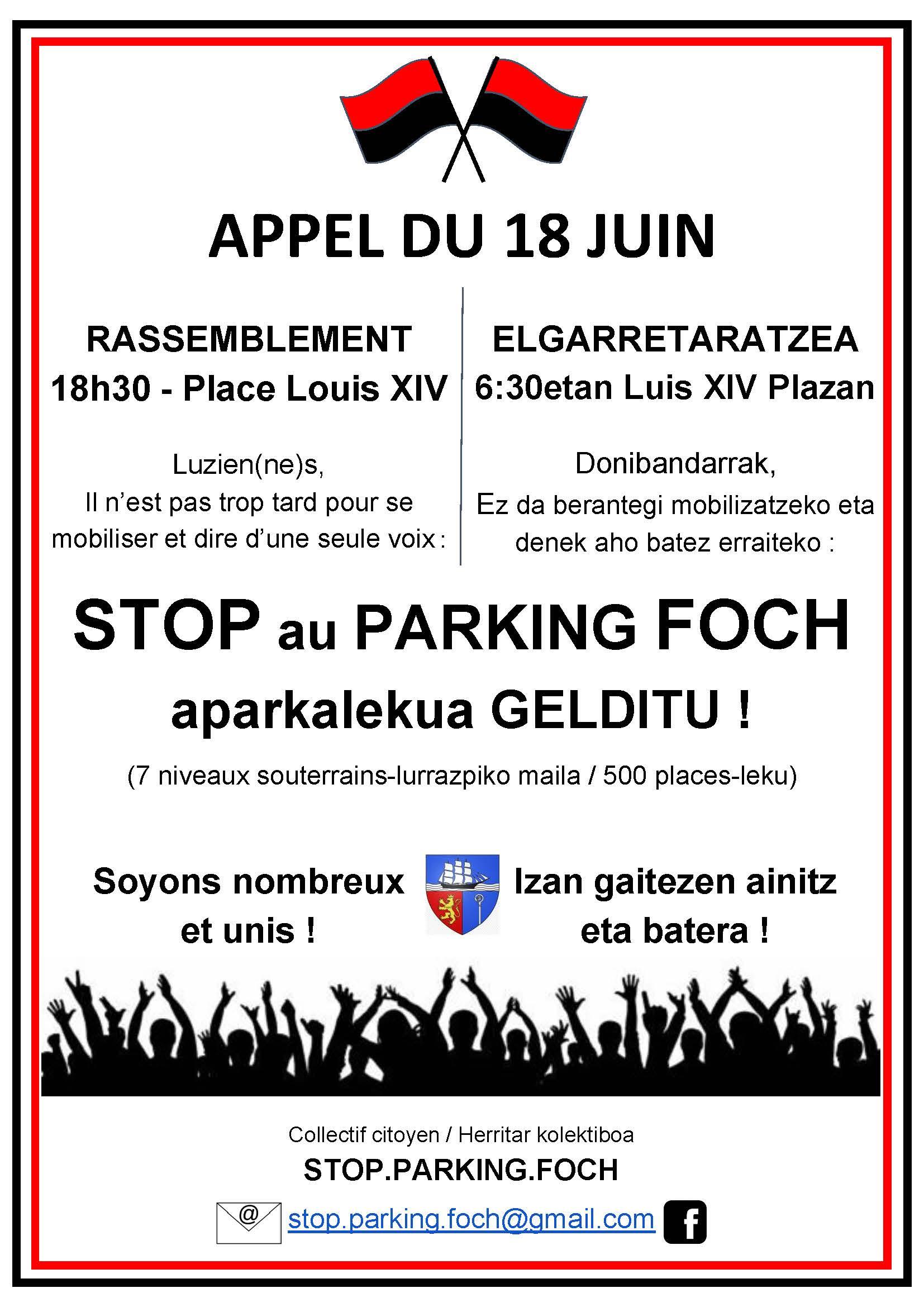 Tract d'appel à manifestation contre le parking Foch le 18 juin 2021 à Saint-Jean-de-Luz